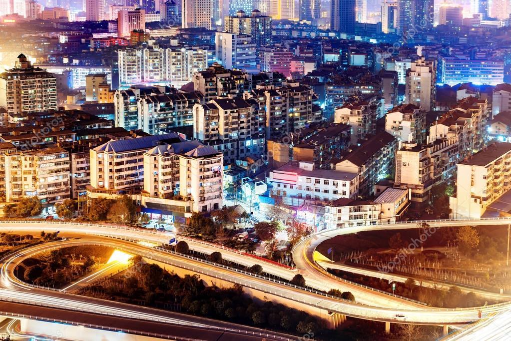 Фотообои Modern urban viaduct at night