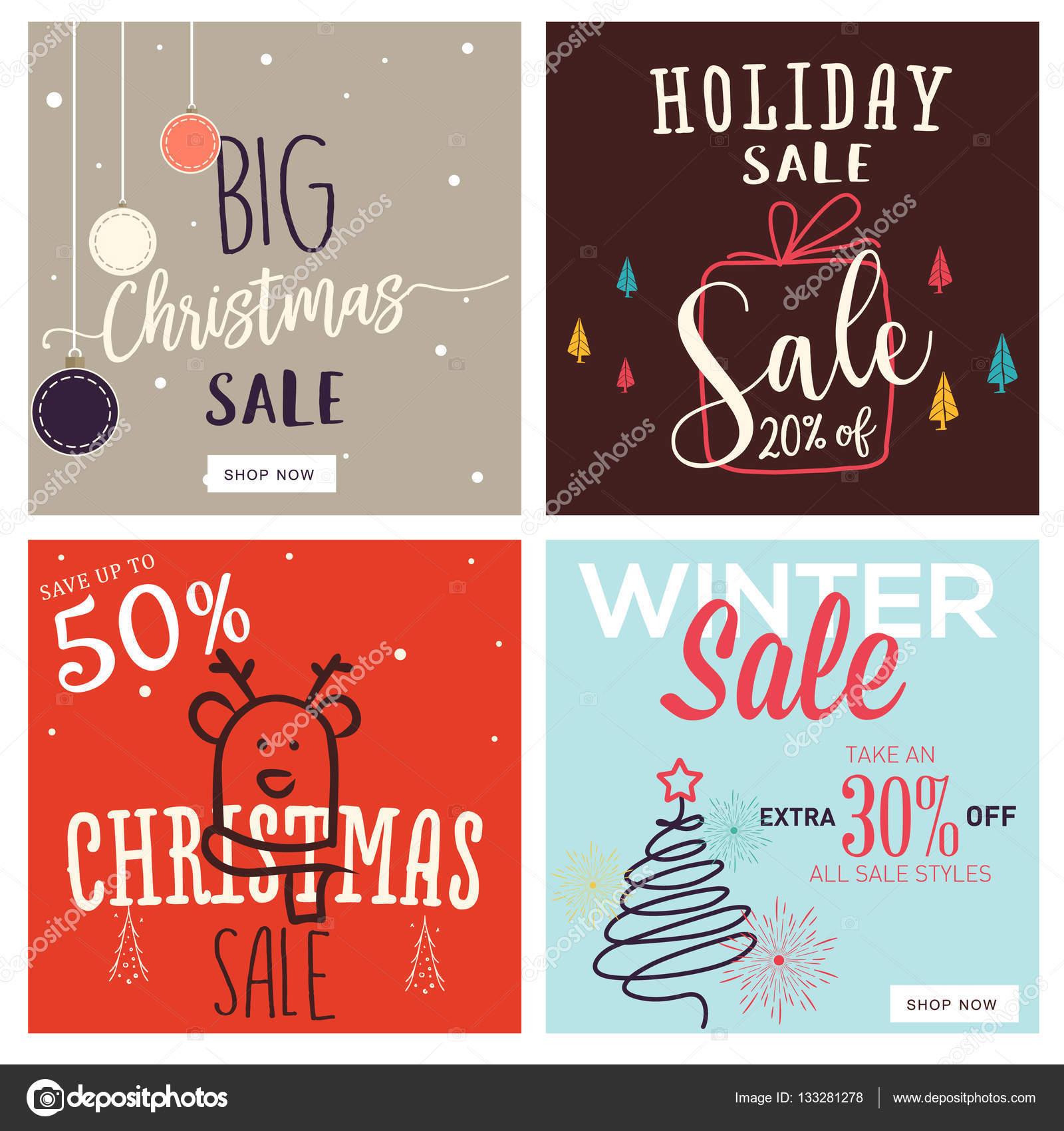 Reihe von Bannern, Weihnachten und Neujahr mobiler Verkauf ...