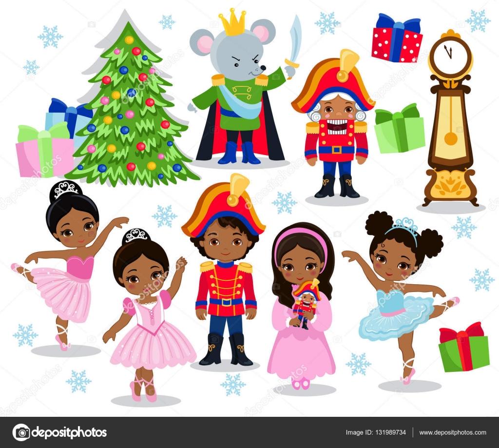 Conjunto de dibujos animados Navidad personajes de cuento de hadas ...