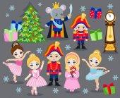 Vánoční set kreslených postaviček pro pohádky Louskáček