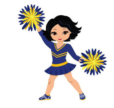 Cheerleader in blue and yellow uniform with Pom Poms. Vector illustration isolated on white background.