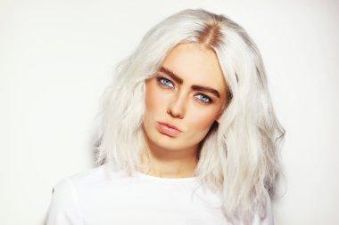 Platinum blond woman with stylish make-up
