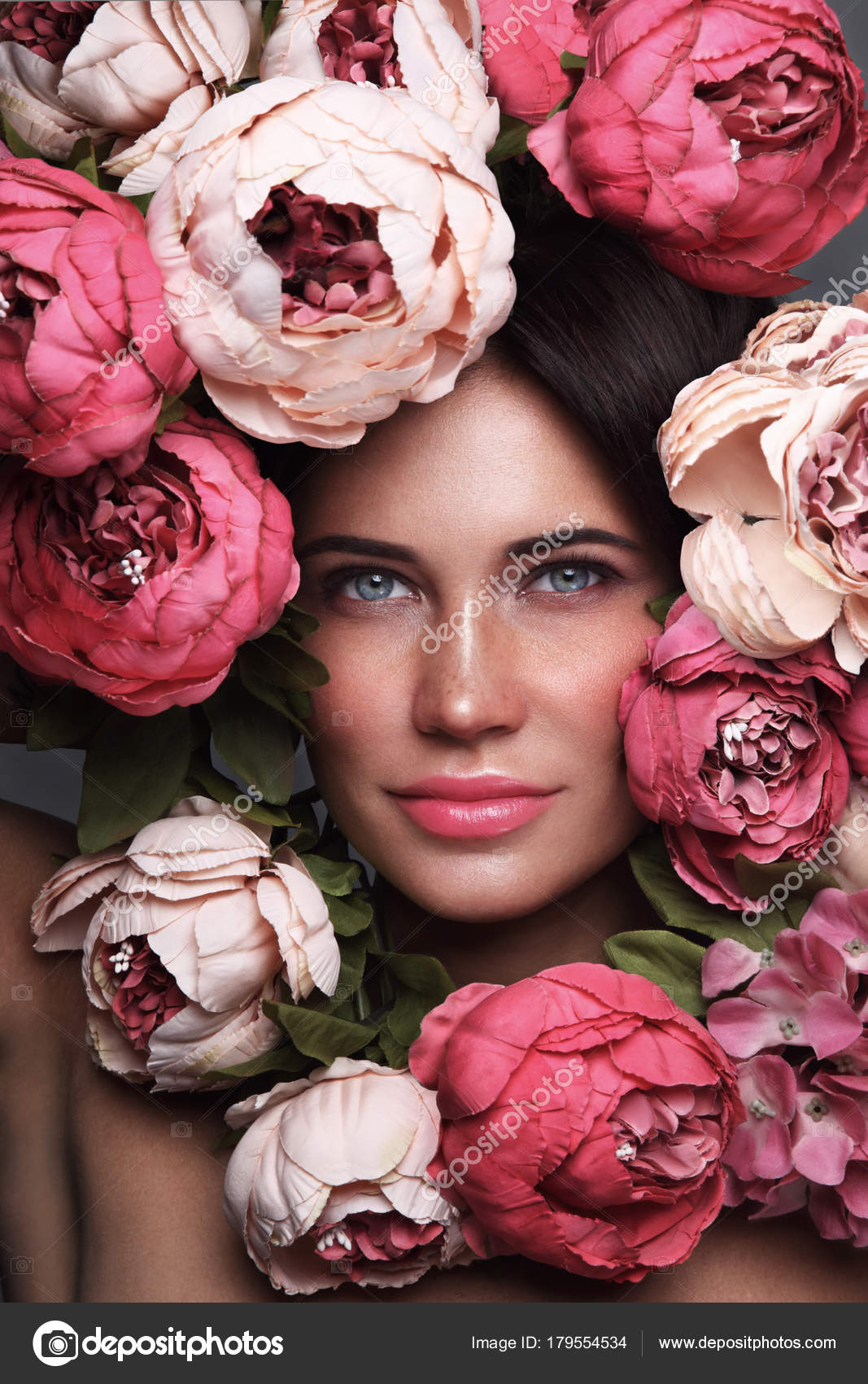 Portrait Young Beautiful Woman Flowers Her Face Stock