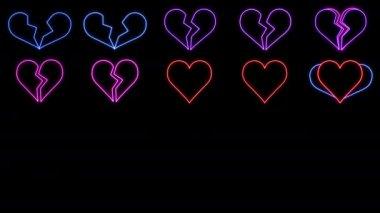 glowing neon hearts