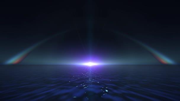 modré slunce nad vlny oceánu