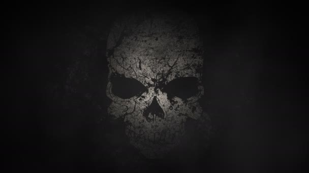 Foggy Sinister Decaying Spot Lit Skull Background Loop