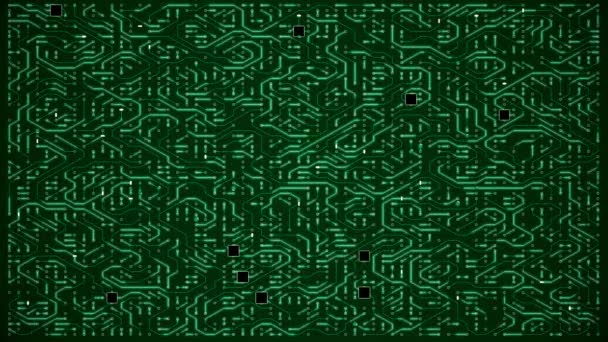 Dense Green Circuit Animation Motherboard Loop