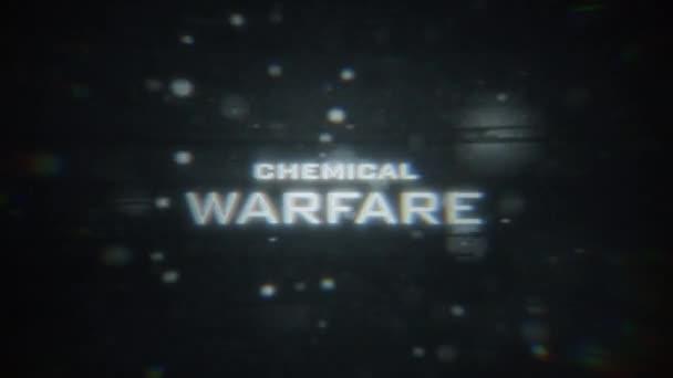 Digitale Anzeige der CHEMISCHEN WARFARE mit Teilchen und störenden Verzerrungen.