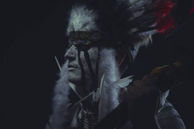 American Indian chief holding axe