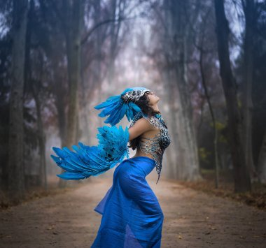 Freedom, Beautiful young woman with dress made of blue feathers,