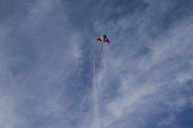 Kite of rainbow colors in sky