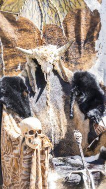 Throne of furs and skulls