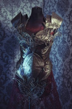 Armor of woman Strong metal breastplate