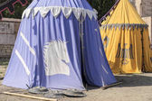 medieval tent of different colors