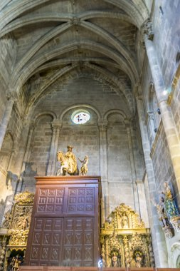 Tourism, Medieval architectural arches inside the Cathedral of Ourense in Spain. Gothic style