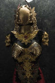 Fotografie Knight, gold armor and metal pieces handmade, it has a golden breastplate of dragon scales with a helmet of gothic pieces and red feathers