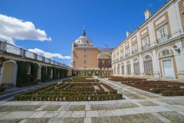 Facade, Royal Palace of Aranjuez. Community of Madrid, Spain. It is a residence of the King of Spain open to the public