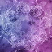 Mandala přes barevný akvarel. Krásné vintage kruhovým vzorem. abstraktní pozadí. Dekorativní umění. Pozvánka, tričko tisk, svatební přání. Tattoo prvek