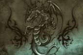 Fotografia disegno del tatuaggio su sfondo grigio. texture di sfondo. immagine artistica