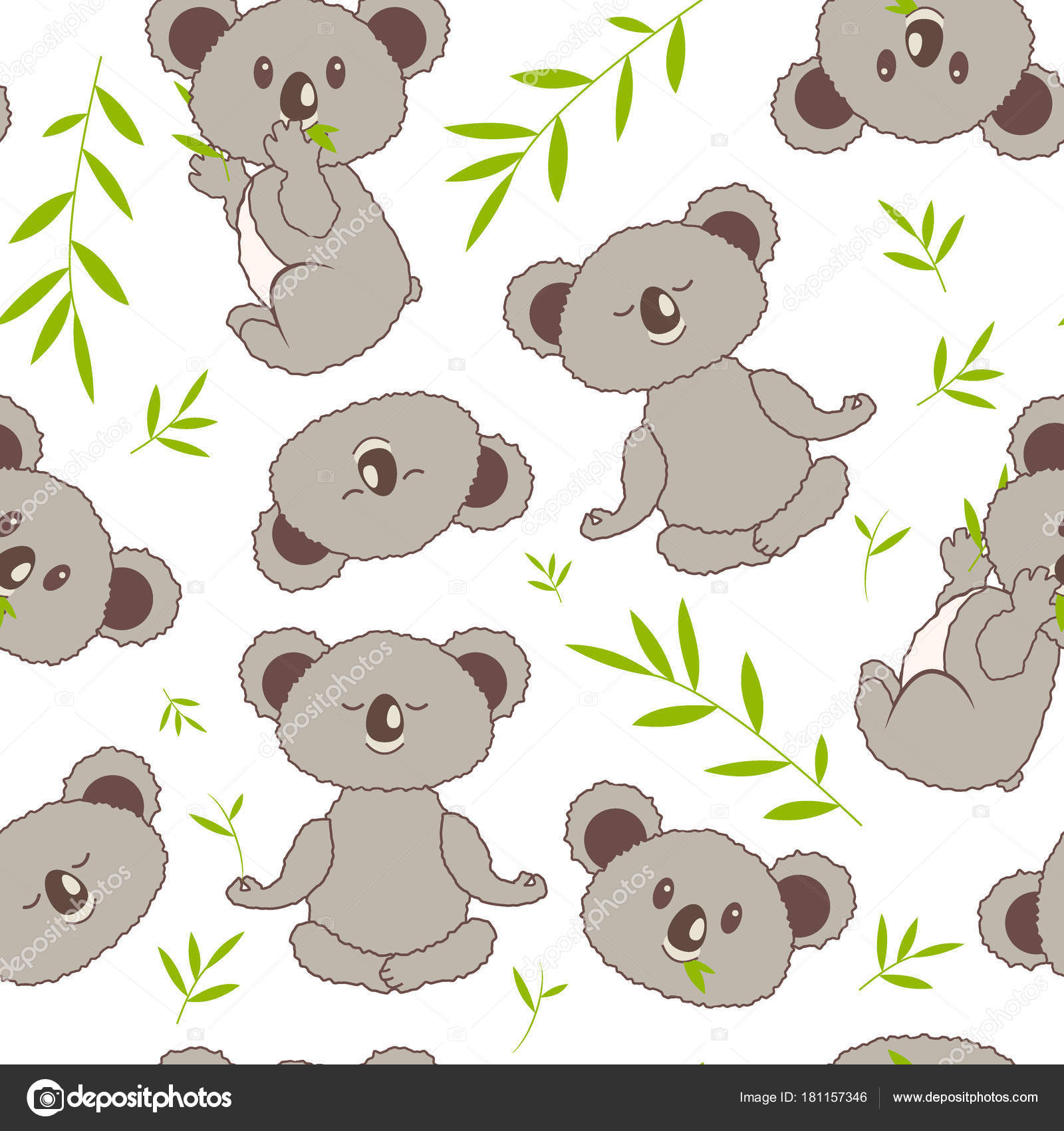 Lindo de patrones sin fisuras con koalas y eucalipto — Archivo ...