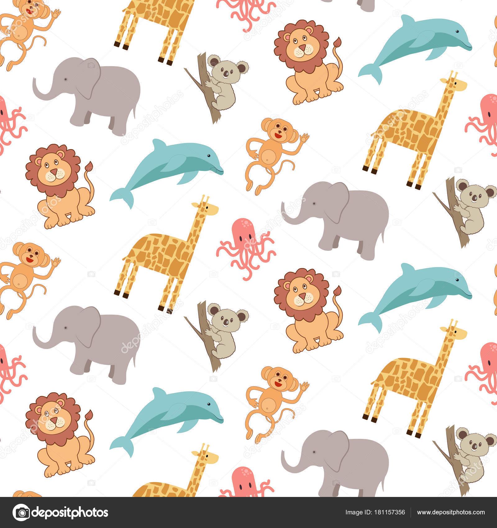 Moldes de animales de la selva bebes | Lindo de patrones sin fisuras ...
