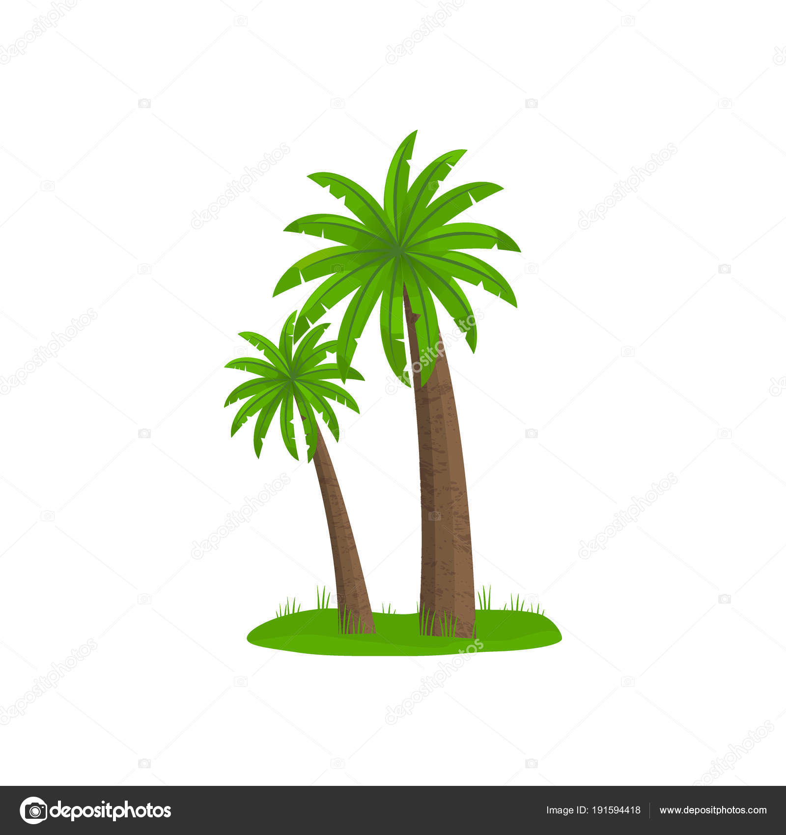 Palm Trees Isolated On White Background Flat Cartoon Palms Small Piece Of Land