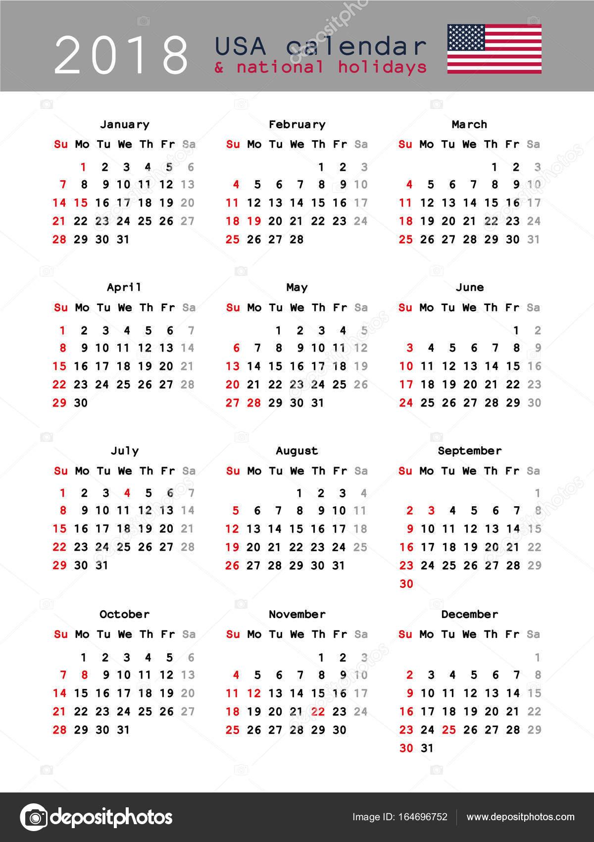 Calendario de Estados Unidos 2018 — Archivo Imágenes