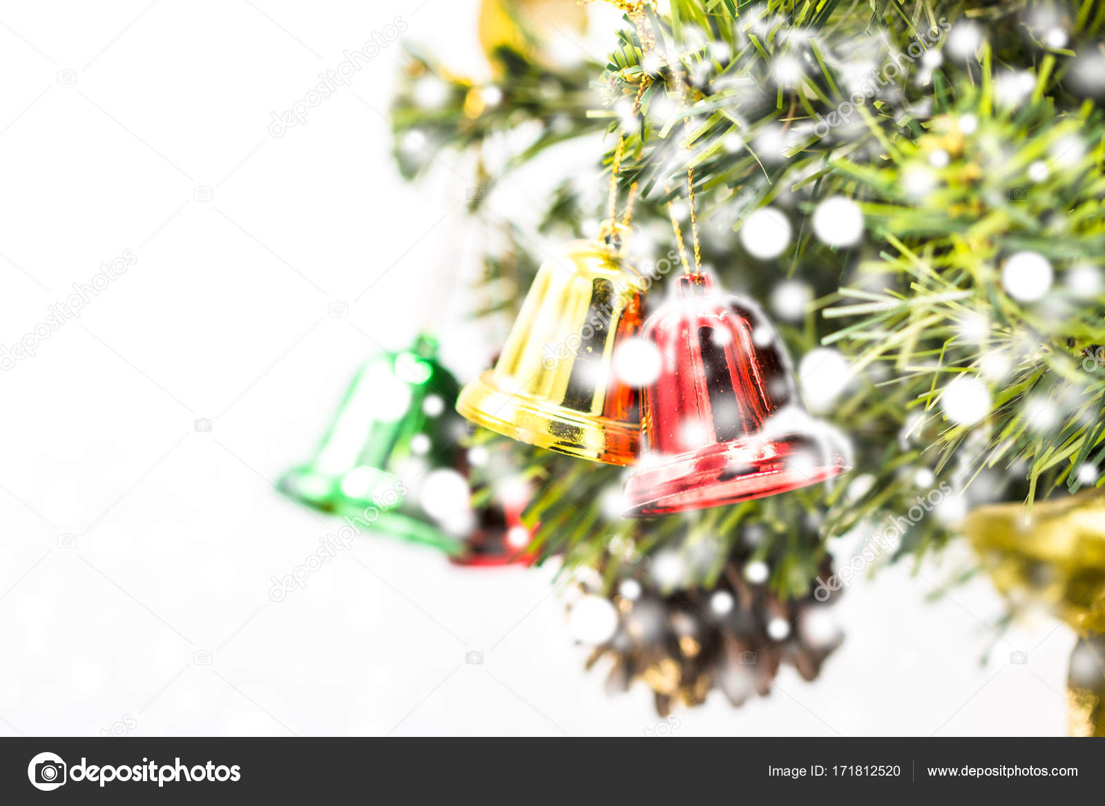 Red Green Gold Christmas Theme Red And Green And Gold Christmas Bell Decoration Hanging From Christmas Tree Stock Photo C Jomvairai 171812520