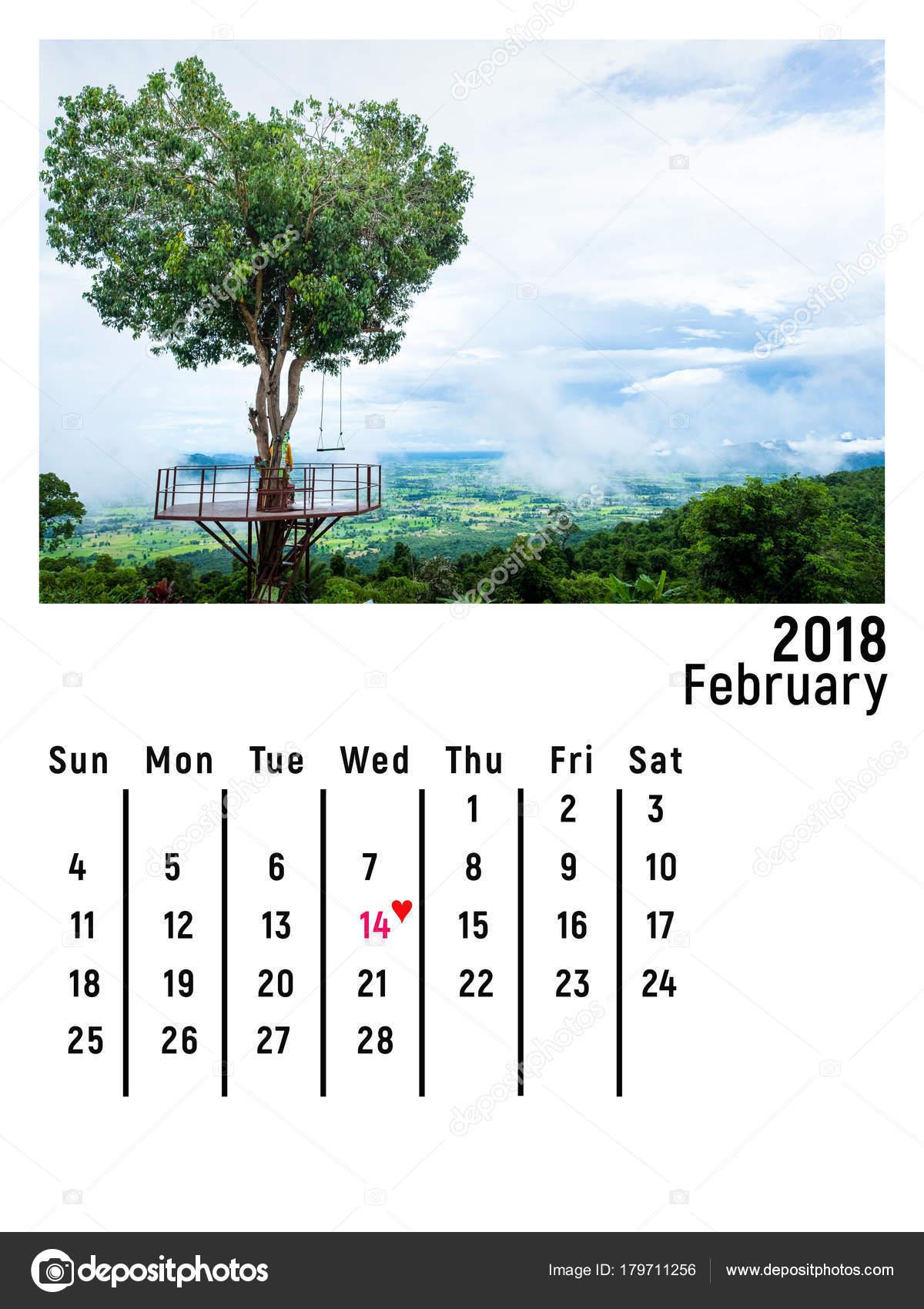 calendar february 2018 heart shape tree phitsanulok thailand stock photo