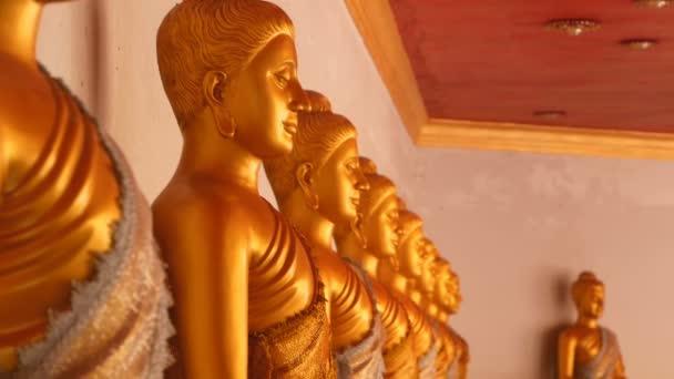 Sochy ze zlatých buddhů, sedící v řadě.