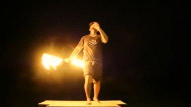 SAMUI, THAILAND - 8TH JANUARY, 2018: Fisherman beach Thai fireshow