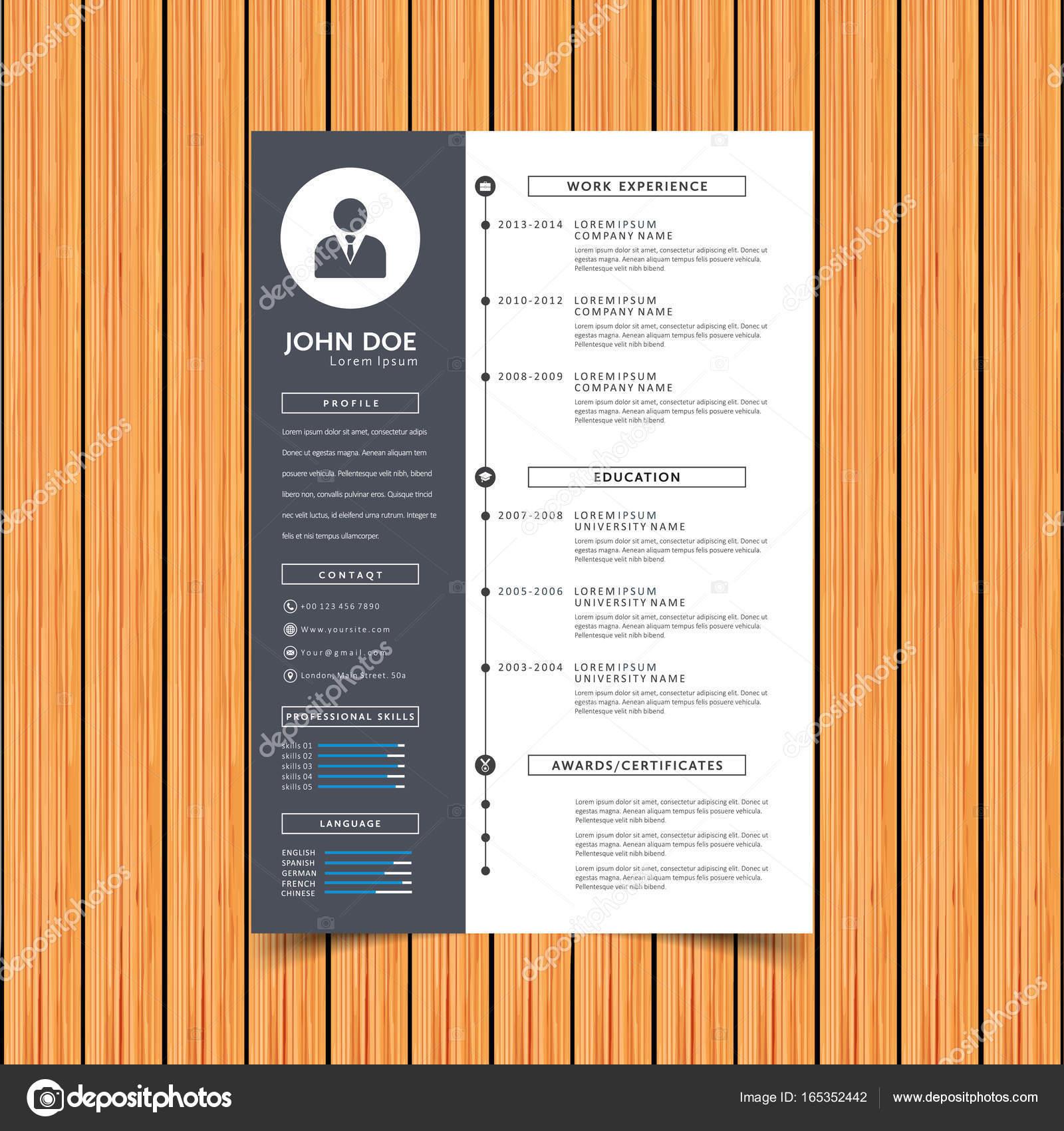 print-Designvorlage Lebenslauf — Stockvektor © Xologon #165352442