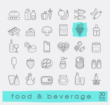 Collection of food and beverage icons.