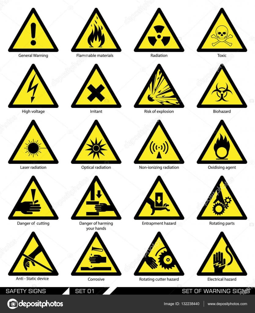 f2aaafb7e4862 Colección de señales de advertencia. Ilustración de vector. Signos de  peligro. Signos de alerta - vectores  señalamientos de seguridad — Vector  de dejanj02 ...