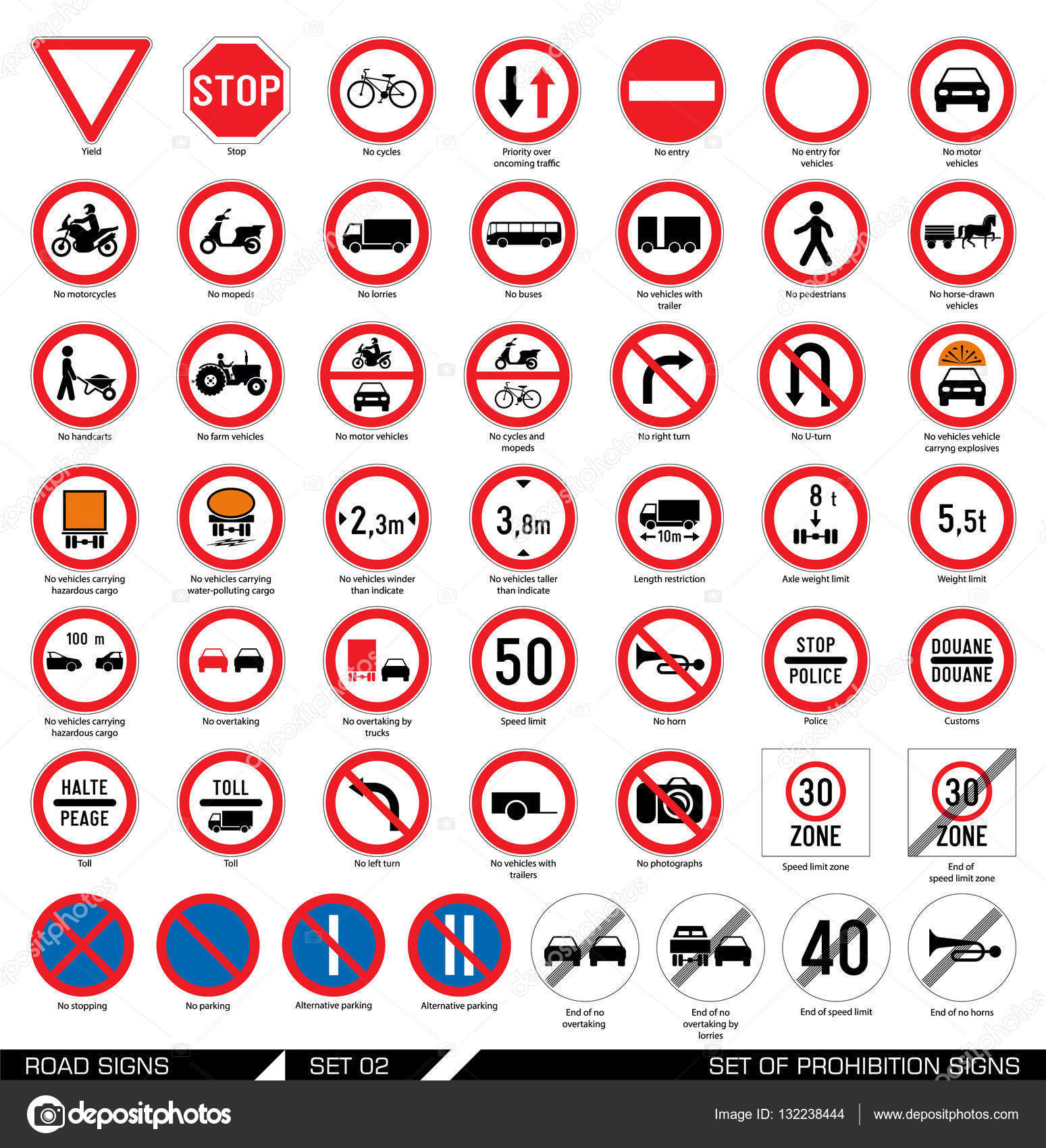 Set of road signs stock vector dejanj02 132238444 collection of mandatory and prohibition traffic signs vector illustration vector by dejanj02 buycottarizona Image collections