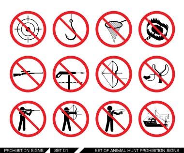 Set of animal hunt prohibition signs
