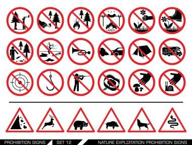 Set of nature exploitation prohibition signs