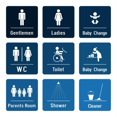 Set of toilette and bathroom signs