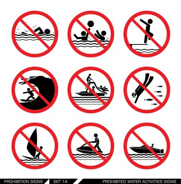 Set of prohibition signs for water activities