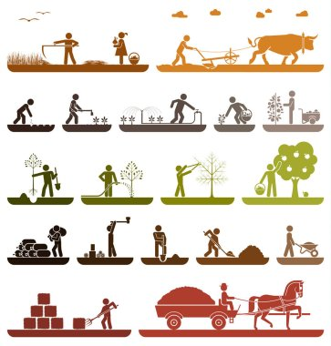 Set of pictogram icons presenting agricultural work and life on