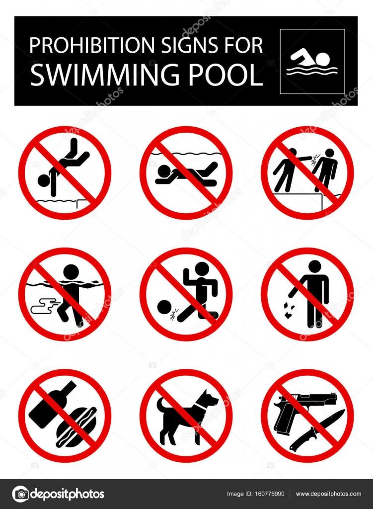 Conjunto de se ales de prohibici n y las normas para la for Normas de piscina