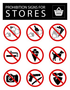 Set of prohibition signs for stores