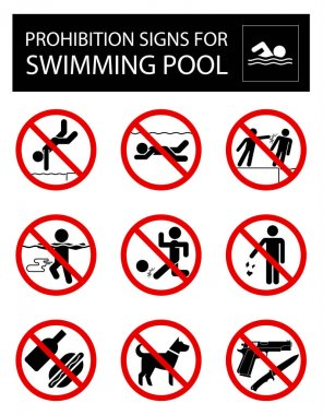 Collection of signs that forbid certain objects or behaviour inside of swimming pool. stock vector