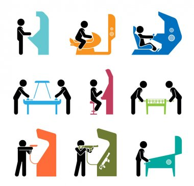 Pictograms representing people playing games.