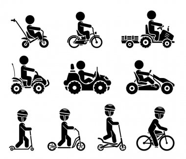 Set of pictograms representing children riding all sorts of vehi