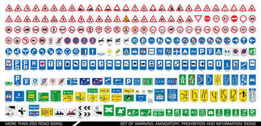 More than 250 road signs.