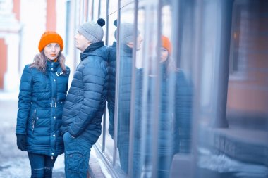 Couple walking on Moscow streets