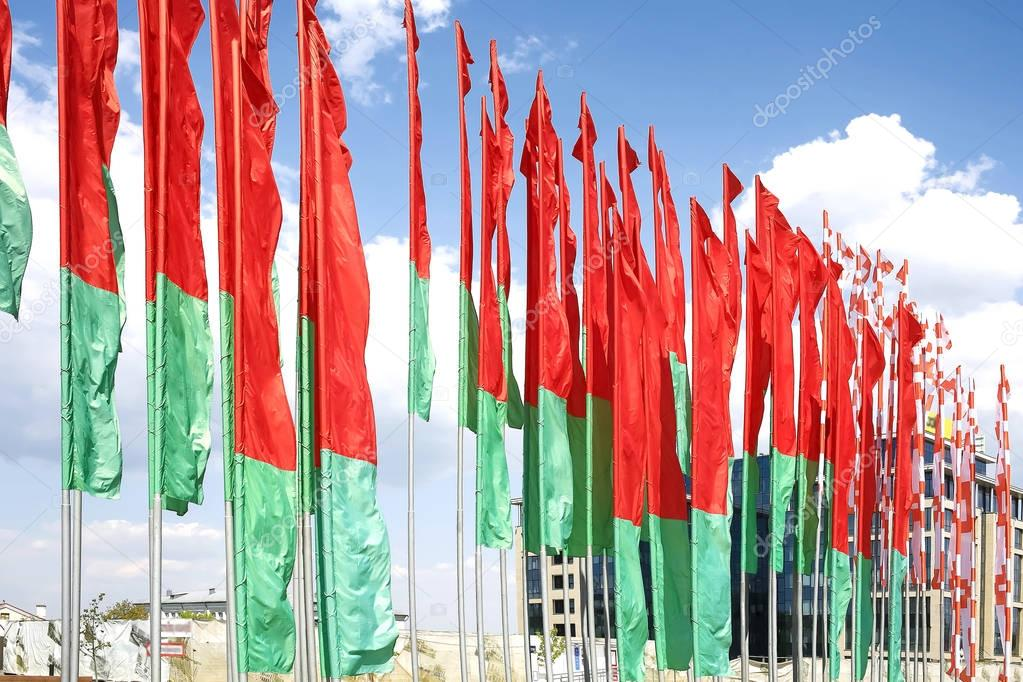 Flags of Belarus against the sky