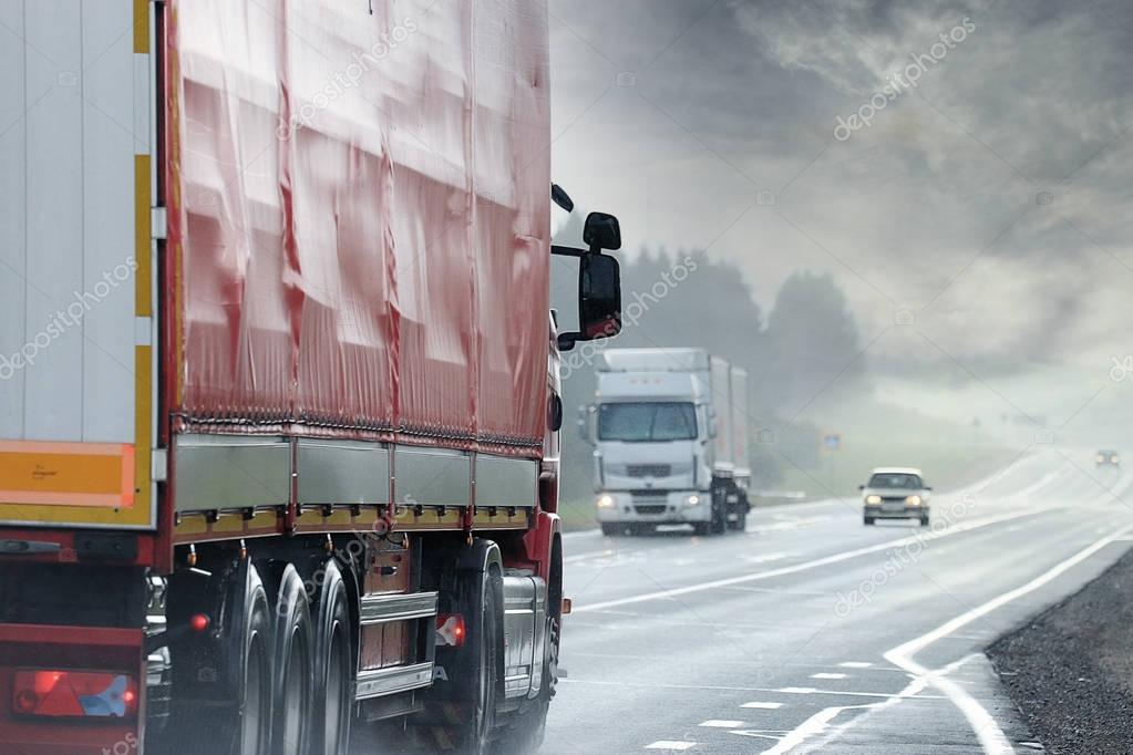 Trucks on  road,  logistics