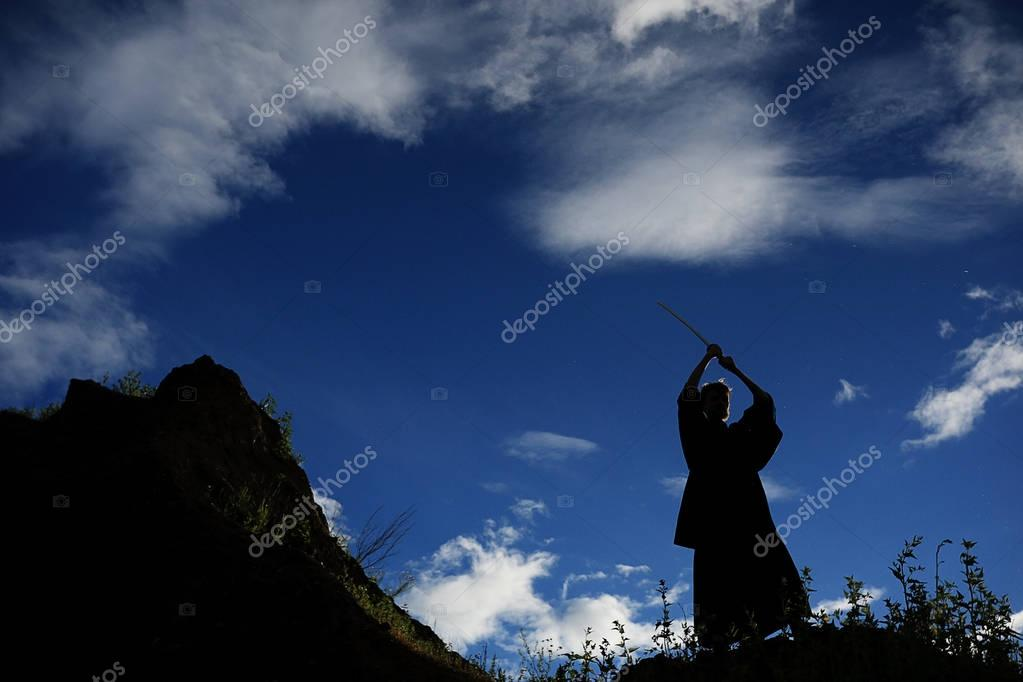 silhouette of fighter with sword